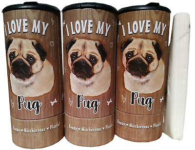 I Love my Pug Refillable Tissue Tube with 1 Refill package 85011