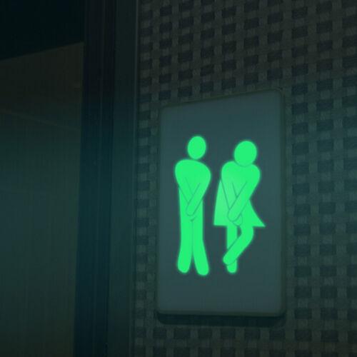 New 1x Toilet Luminous Door Wall Sticker Fluorescent Creative Door Decoration ER