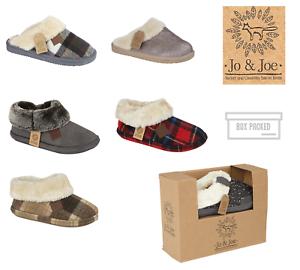 Jo & Joe Womens Luxury Slippers Winter Warm Fur Slip On Flat Mule Bootie Girls