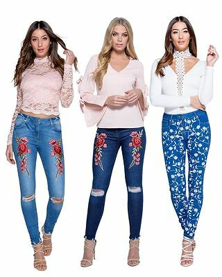 New Womens Ladies Embroidered Patch Rip Knee Detail Skinny Jeans Sizes 6-14