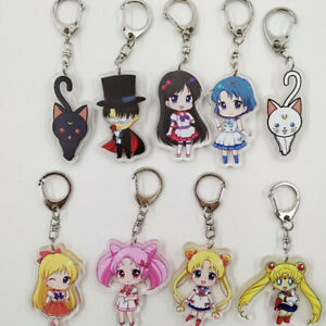 Japan Anime Sailor Moon Figure Keychain Key Ring Acrylic Cos Gift