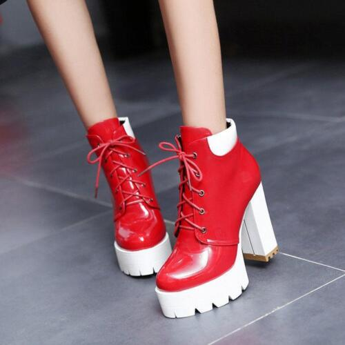 Womens Motorcycle Gothic Lace Up Platform Block Heel High Top Ankle Boot Shoes