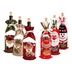 Red Wine Bottle Cover Bags Snowman Santa Claus Christmas Decoration Sequins Xmas