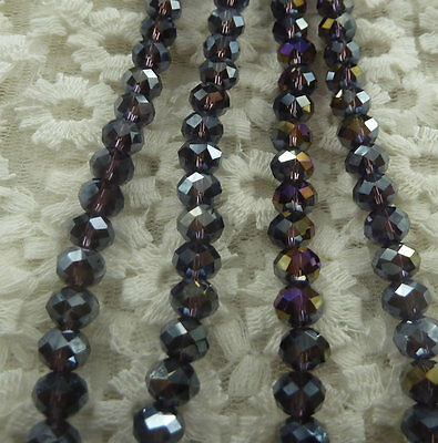 600pcs AB violet glass crystal Faceted Rondelle loose beads 8mm ZH316
