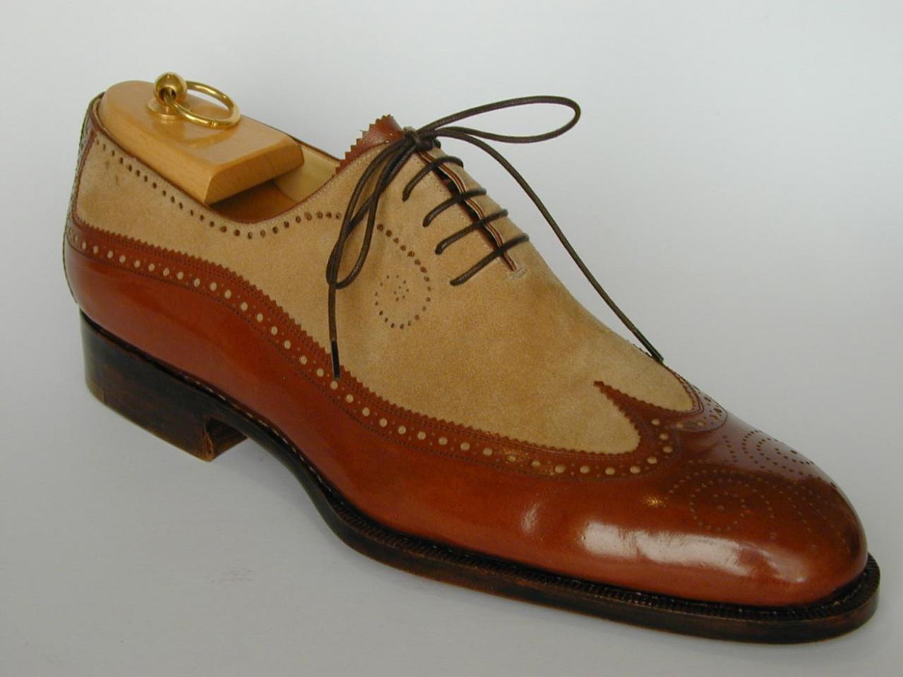 Homme Fait à la main Chaussures en daim Mix Bout D'Aile Richelieu à marron semelle en cuir   chaussures