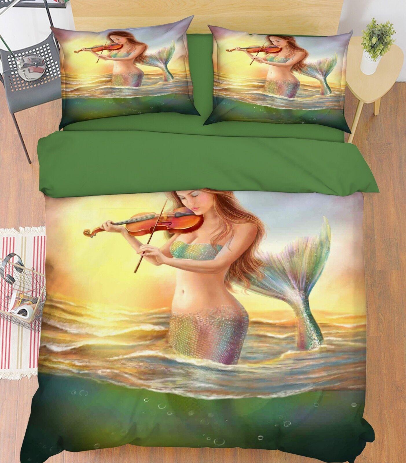 3D Girl Volin 688 Bed Pillowcases Quilt Duvet Cover Set Single King UK Lemon