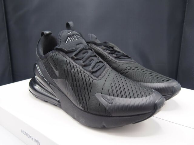 info for 1754e 01431 Nike Air Max 270 Mens Ah8050-005 Triple Black Mesh Knit Running Shoes Size  12