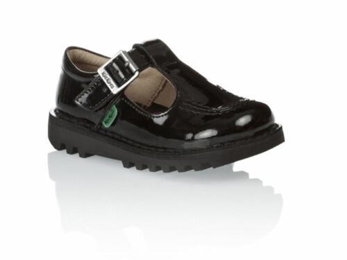 Sale Infants Youths Kickers KICK T CORE 112531 Patent Leather T Bar Shoes Black