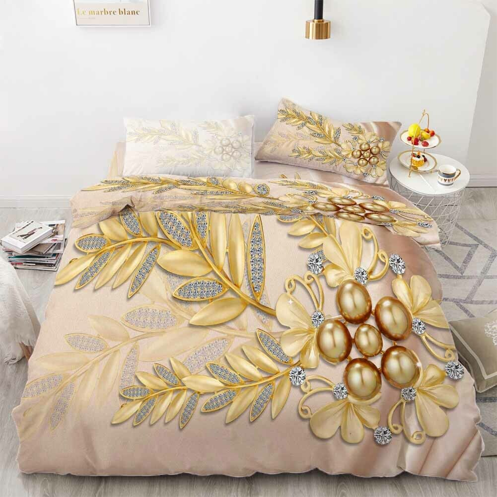 Golden Pearl Leaf 3D Printing Duvet Quilt Doona Covers Pillow Case Bedding Sets