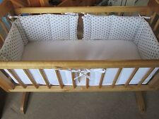 Cushi cots swing crib bumper boys twin pack/ full wrap grey stars on white new