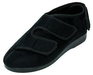 OrtoMed-Hausschuhe-mit-Klettverschluss-Schuhe-schwarz-36-46-6051T44PUT44-Neu1