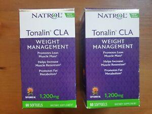 Natrol Tonalin CLA 1200 mg 60 Count. 2 Pack 120 Total Softgels. No milk egg nut