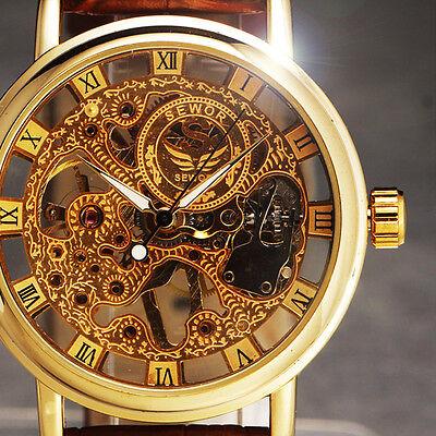 Luxury Sided Hollow Carved Design Fashion Ultra-thin Mechancial Watch Men Reloj