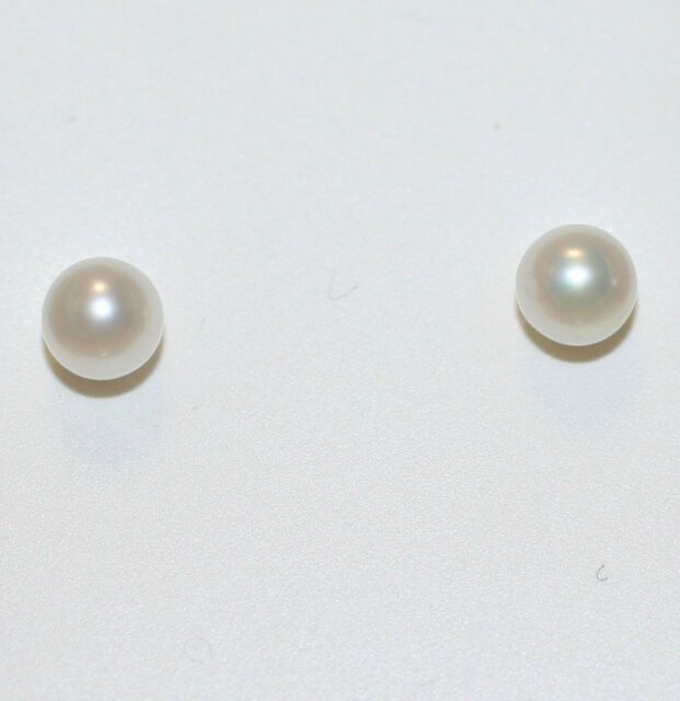 Solid 14k Yellow Gold Aaa 5mm Fully Round Cultured Pearl Stud Earrings Push Back