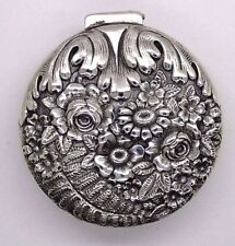 RARE Antique Tiffany & Co  Sterling Silver Floral Repousse Pill/Trincket Box