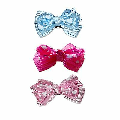 """1 5/8"""" QUALITY TWO TONE HEART SHAPE RIBBON BOW HAIR CLIP FOR LONG HAIRED DOGS"""