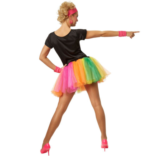 Costume années 80 pour femme tutu robe 1980s neon coloré disco rétro carnaval