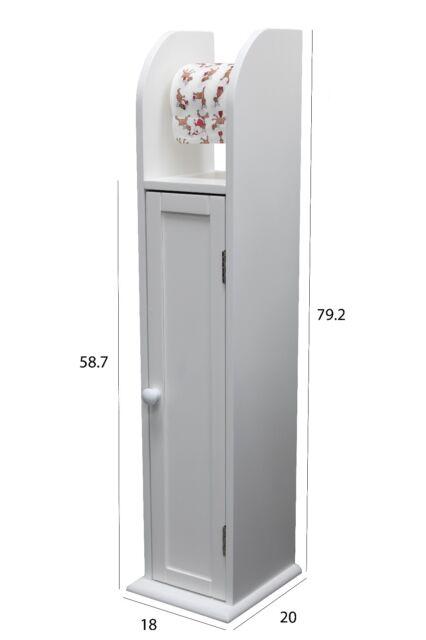 Standing Wooden Bathroom Toilet Paper Roll Holder Cabinet Storage White Ebay