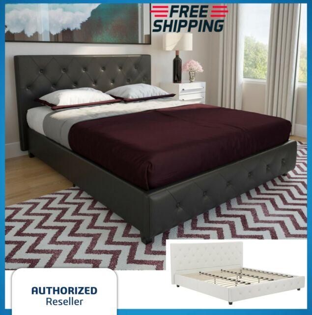 Twin Full Queen King Bed Frame Slats Tufted Leather Upholstered Headboard Black For Sale Online Ebay