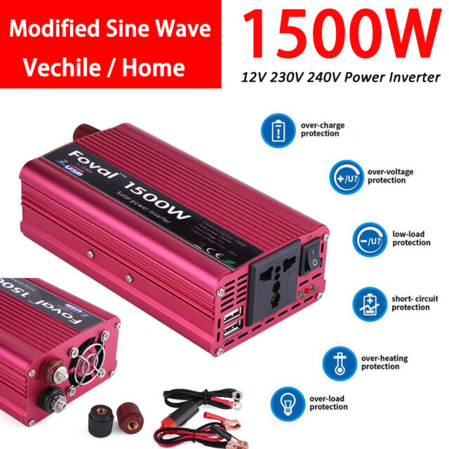 1500w DC 12v to AC 230v Car Power Inverter Charger Converter 4 8a Dual USB  Port