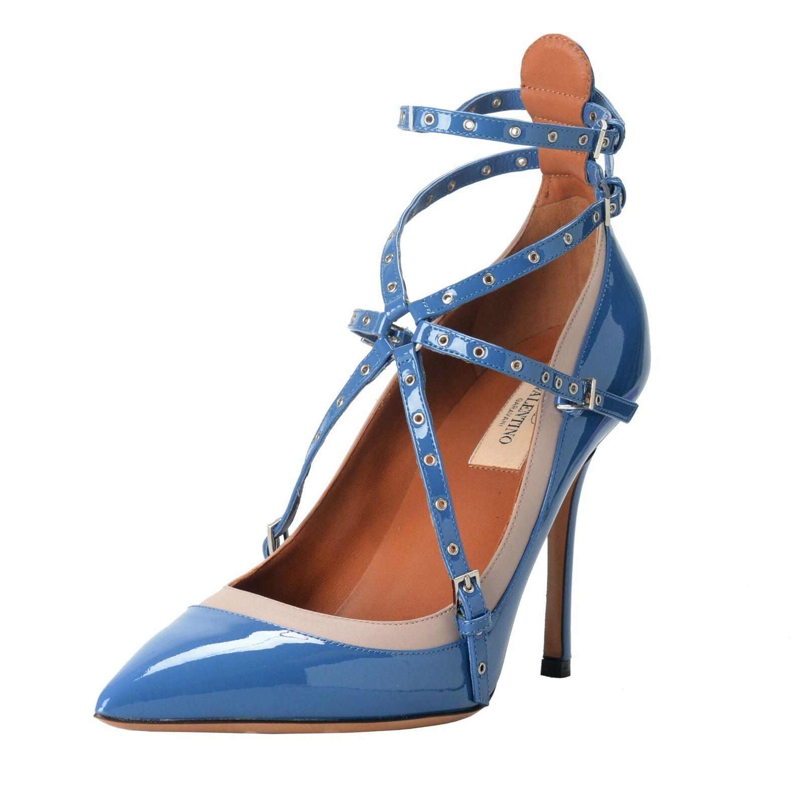 Valentino Garavani Damen Leder Blau Knöchelriemen Pumps Schuhe Größe 7 9 9.5