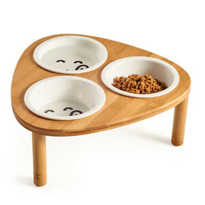 Bamboo-Elevated-Dog-Cat-Food-Water-Bowls-Stand-Feeder-with-3-Ceramic-Bowls