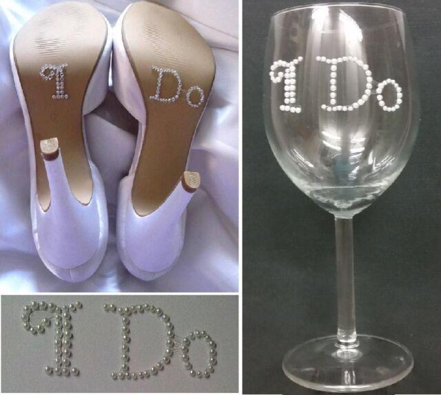 I Do Bride Shoes Wine Glass Wedding Sticker Elegant White Pearl