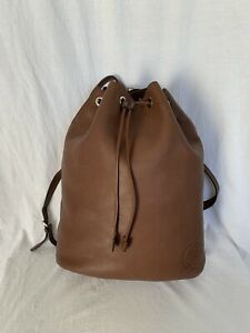 97b1cbefe53 Image is loading GUCCI-Soho-Authentic-Brown-Leather-Drawstring-Backpack-Bag-