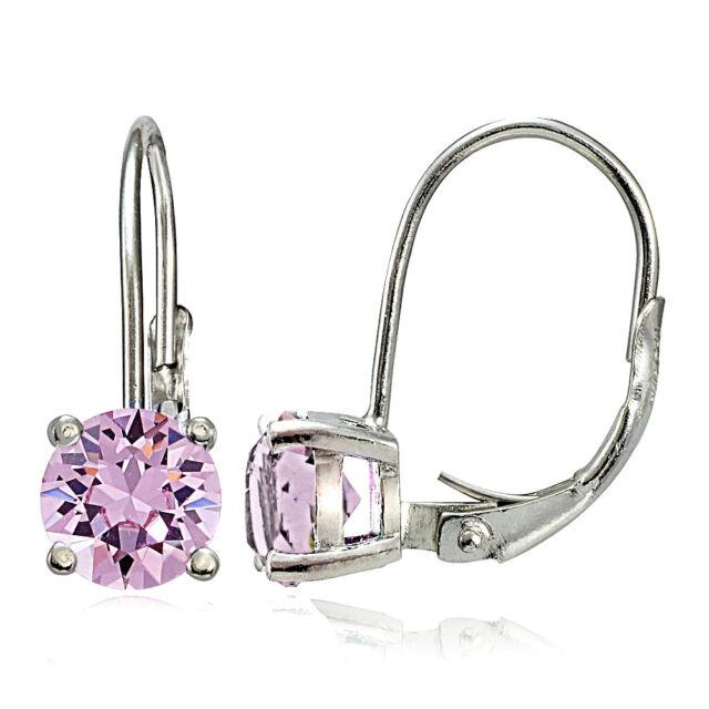 925 Silver Alexandrite Cz Swarovski Elements June Birthstone Leverback Earrings