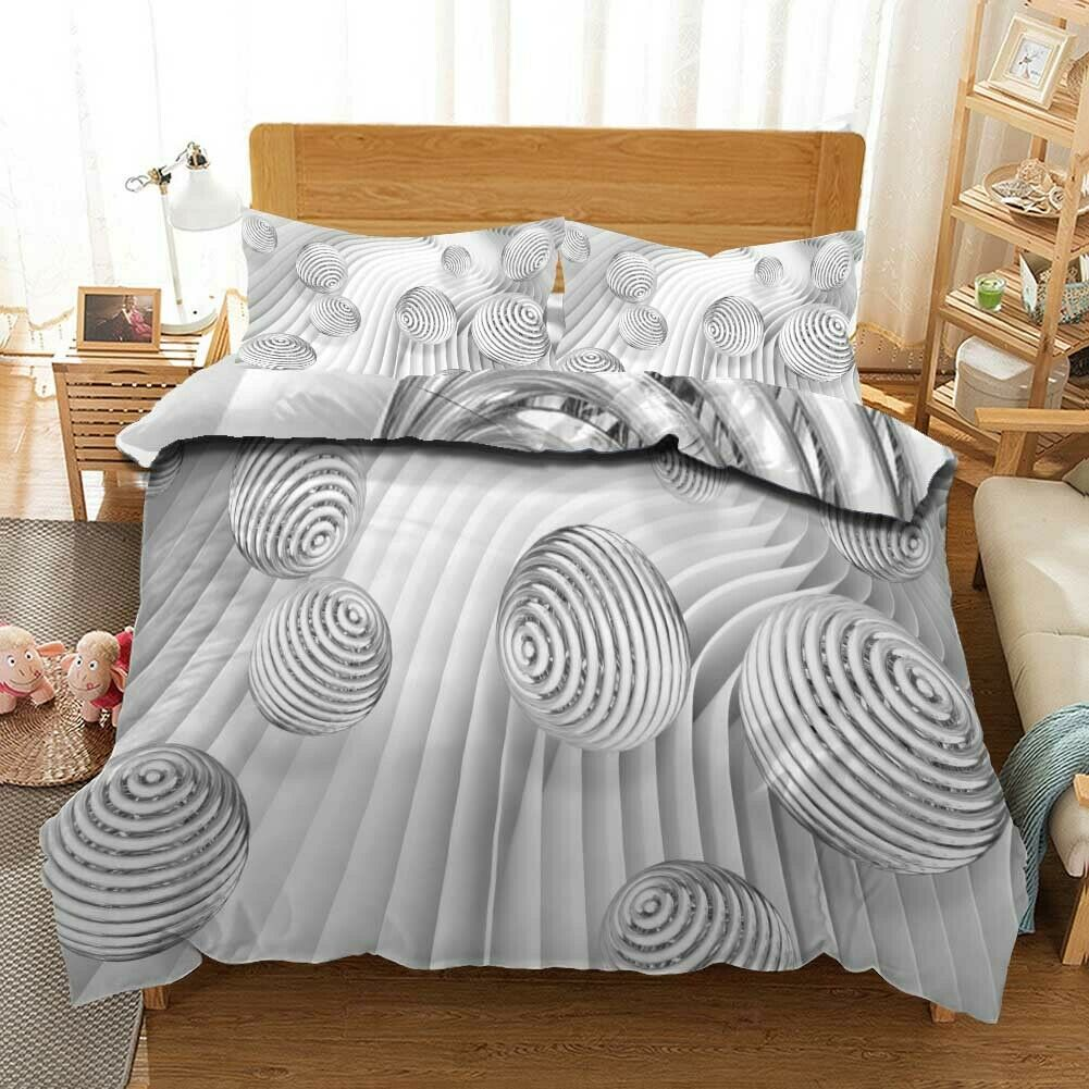Great Weiß Shell 3D Quilt Duvet Doona Cover Set Single Double Queen King Print