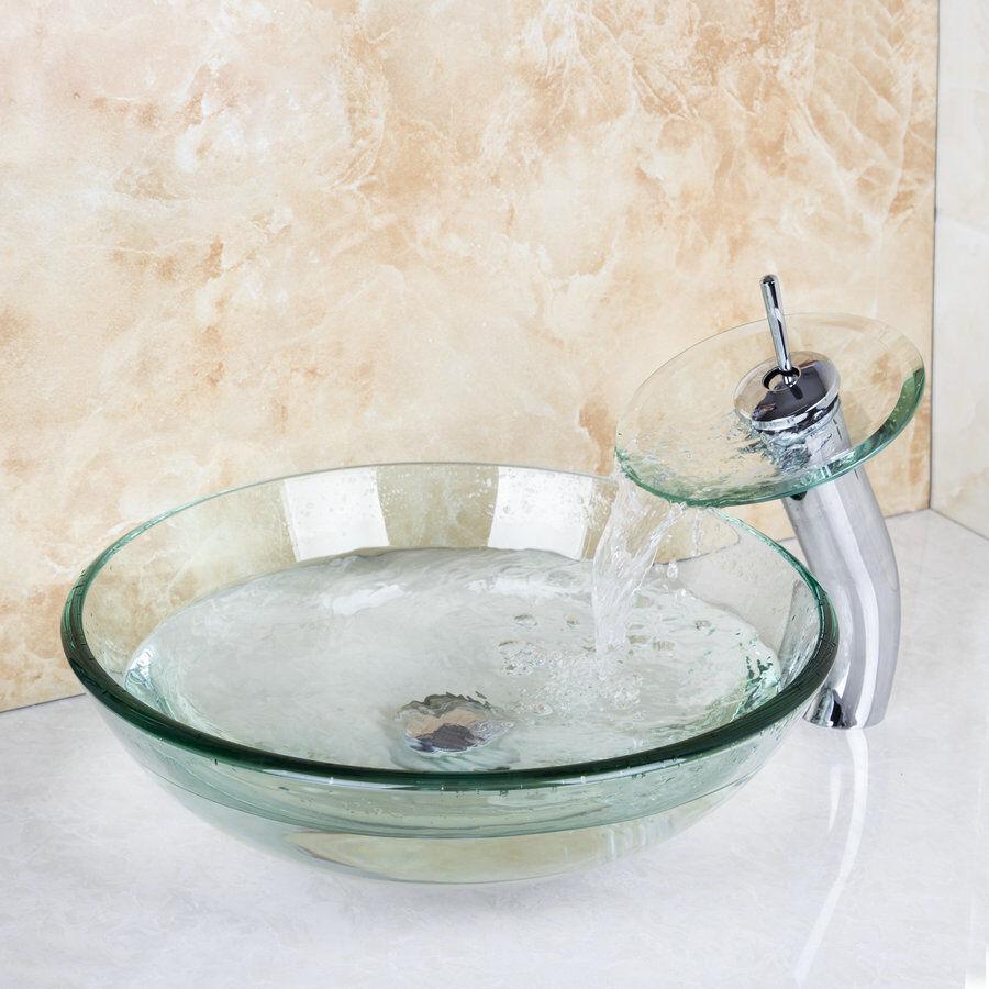 Verre trempé clair Bol viennent avec salle de bains bassin évier mitigeur robinets et Drain