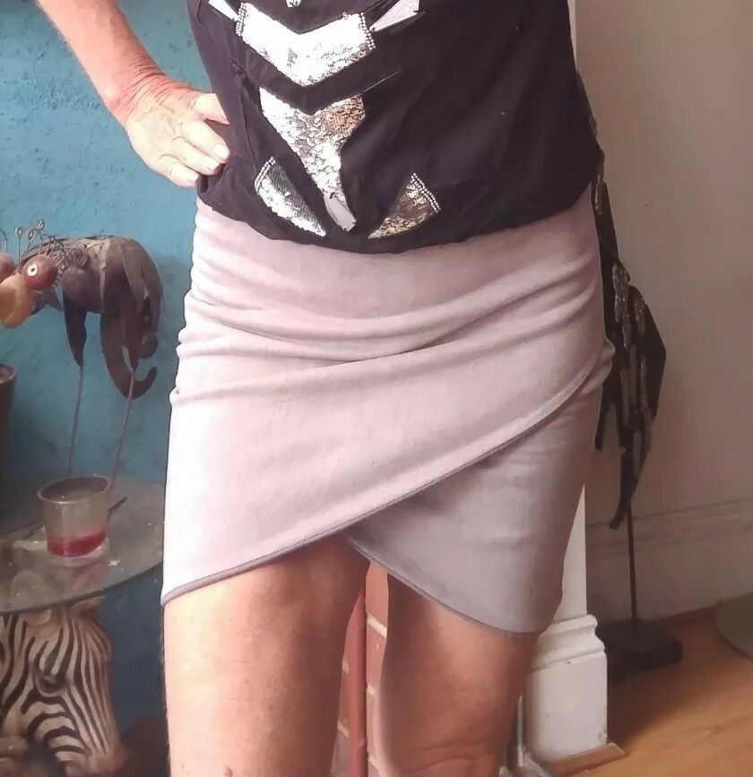 By Johnny Taupe Mini Skirt Sz M
