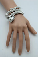 Women Silver Metal Cuff Bracelet Fashion Jewelry Wrap Around Snake Rhinestones