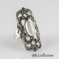 Sterling Silver Ring With Mother Of Pearl And Swiss Marcasite