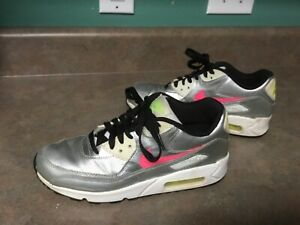 be4e11330f Youth NIKE AIR MAX 90 FB RUNNING SHOES 705392-001 METALLIC SILVER 7Y ...