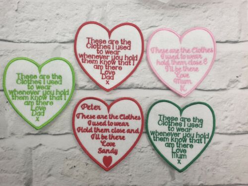 5 x Personalised Heart shaped memory cushion patches embroidered,memory Bear,