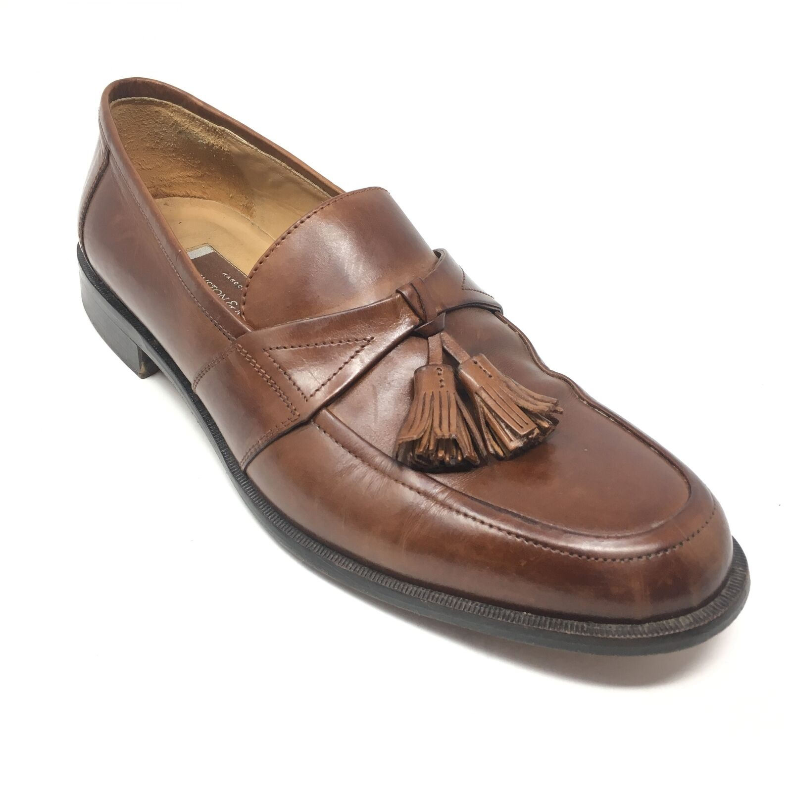 Men's Johnston & Murphy Loafers shoes Size 10M Brown Leather Handcrafted L4