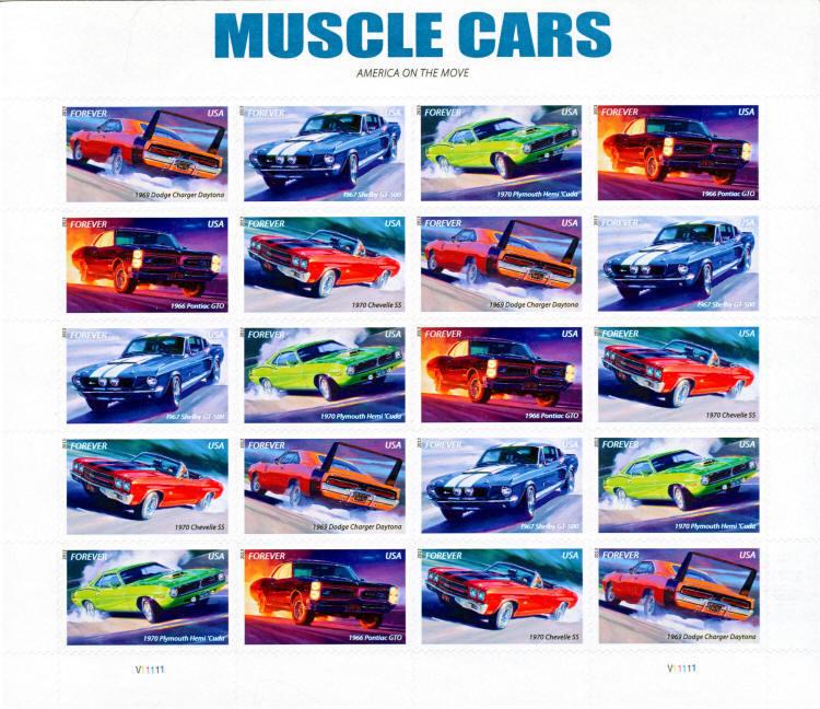 2013 46c Muscle Cars, Sheet of 20 Scott 4743-47 Mint F/