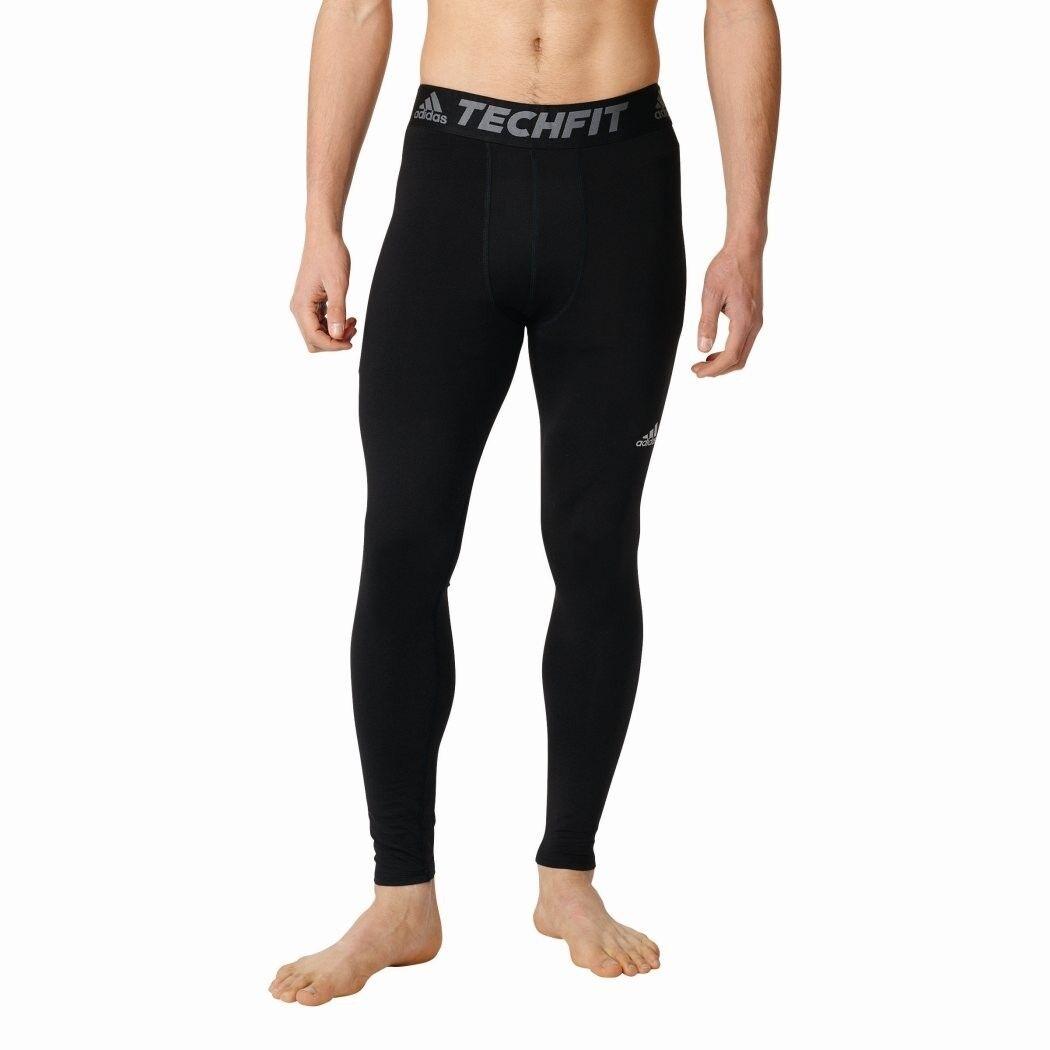 ADIDAS TECHFIT Climawarm lunga sotto trascinamento Pantaloni Uomo XS a 3xl NERO [ai3356]
