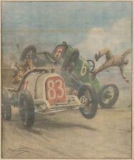 K0804 Staten Island - Scontro durante gara di velocità auto - Stampa antica 1928
