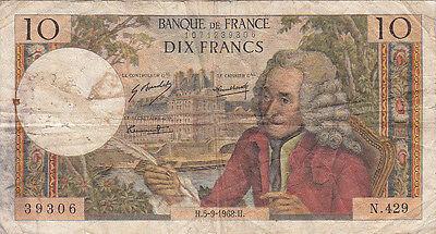 Billet Banque 10 Frs Voltaire 05-09-1968 H N.429 état Voir Scan Uitgebreide Selectie;