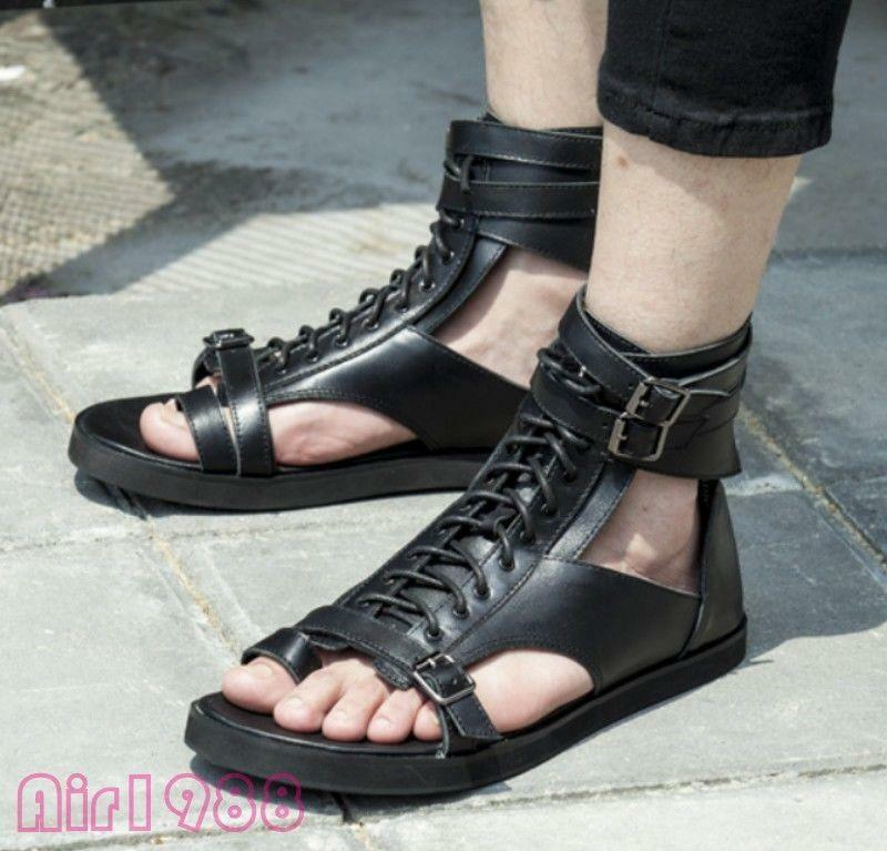 Gothic Uomo High Top Clip Toes Buckle Strap Flat Summer Beach Shoe Casual Sandal