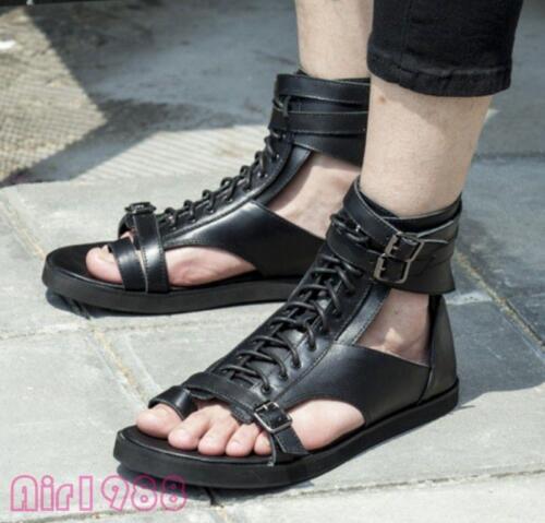 pie superior Alto Zapato de para Casual Sandalia Correa Hebilla hombre Dedo Clip Plana Playa Gótico verano del nwU0Fxn