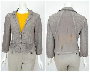 Womens-Elisa-Cavaletti-Knit-Blazer-Jacket-Grey-Cotton-Blend-Cardigan-Size-L
