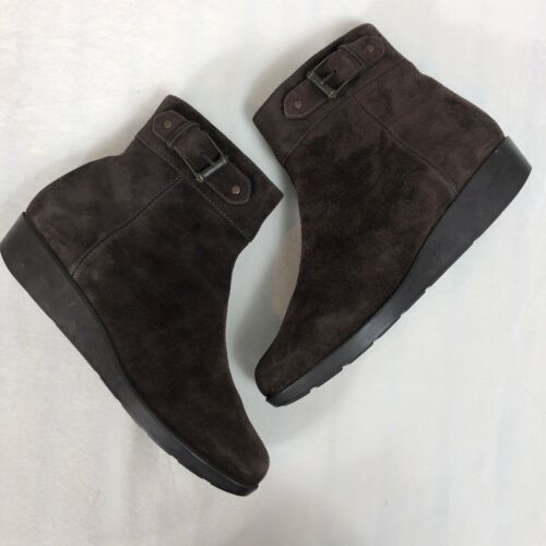 Cole Haan Brown Suede Zipper Ankle Boots