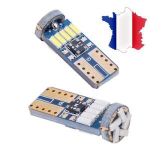 2-Veilleuses-LED-W5W-T10-Canbus-ANTI-ERREUR-BLANC-XENON-6000k-15-LED
