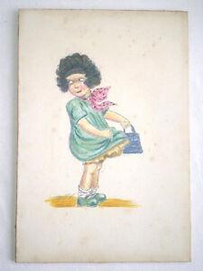 Détails Sur Dessin Au Crayon De Couleur Petite Fille Au Sac à Main Signé Vers 1920