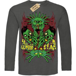 Affamato-Zombie-T-Shirt-Stella-Apocalypse-T-Shirt-Uomo-Manica-Lunga