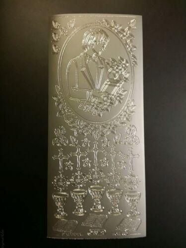 887 Konfirmation Stickerbogen Kommunion Silber Nr