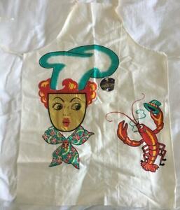 VINTAGE-BARTH-amp-DREYFUSS-BBQ-APRON-WHIMSICAL-LOBSTER-amp-LADY-CHEF-WITH-PAPER-TAG